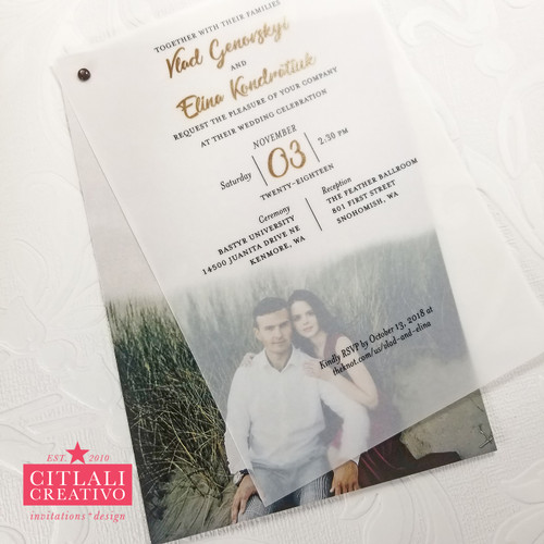 Vellum Transparent Photo Modern Wedding Invitations