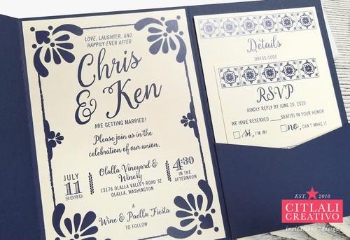 Talavera Spanish Tile Pocket Folder Hacienda Wedding Invitations