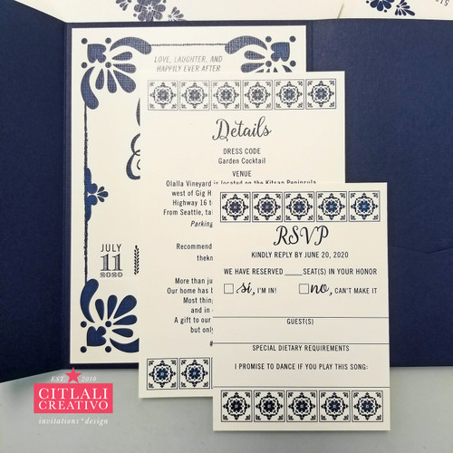 Talavera Spanish Tile Pocket Folder Hacienda Wedding Invitations