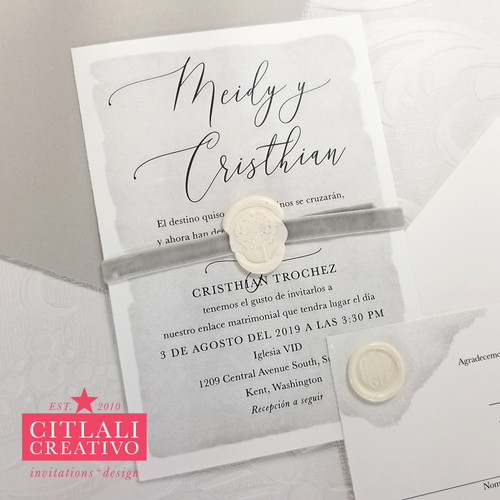 Watercolor Gray Velvet Ribbon + Wax Monogram Seal Wedding Invitations