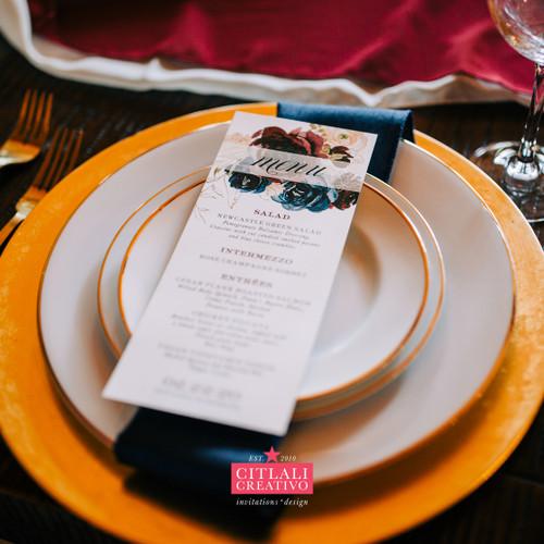 Navy & Burgundy Watercolor Floral Wedding Menu Cards