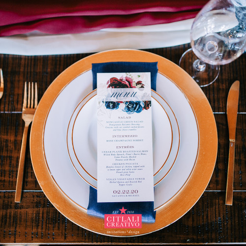 Navy & Burgundy Watercolor Floral Wedding Menu Cards