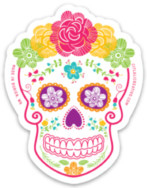 Floral Crown Sugar Skull Stickers
