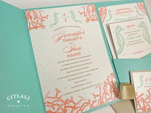 Aqua, Coral & Sand Coral Reef & Seahorses Pocket Folder Wedding Invitations