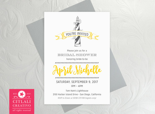 Lighthouse Wedding Bridal Shower Invitations