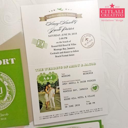 Vintage Filigree Passport Folded Wedding Invitations