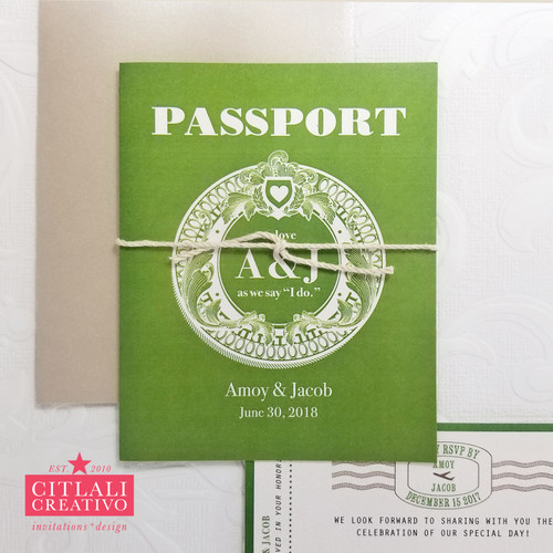 Vintage Filigree Passport Folded Wedding Invitations