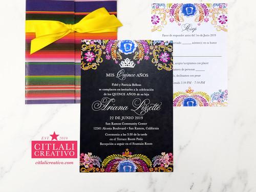 Mexican Embroidery Florals Serape Vellum Wrap Invitations