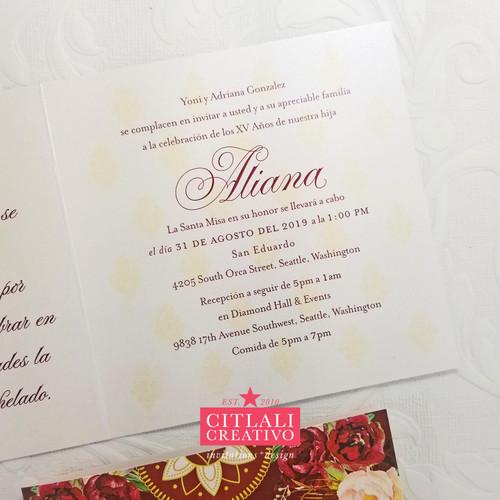 Watercolor Roses Charro Glitter Dress Quinceañera Invitations