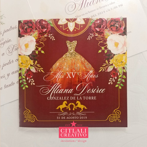 Watercolor Roses Charro Glitter Dress Quinceañera Invitations