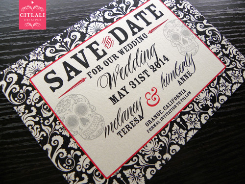 Damask Border Day of the Dead Sugar Skull Save the Date Card