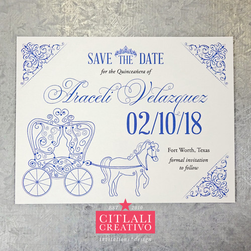 Quinceañera Fairytale Horse & Carriage Save the Dates