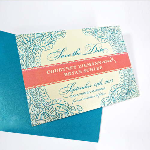 Floral Paisley Henna Wedding Save the Dates