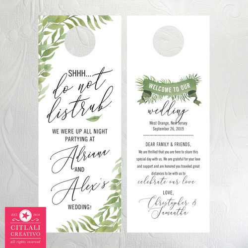 Leafy Botanical Greens Shhh... Do Not Disturb Wedding Door Hangers