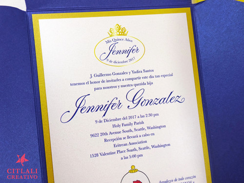 Beauty & the Beast Rose Pocket Quinceañera Invitations