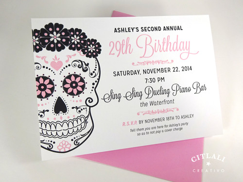 Floral Sugar Skull Birthday Invitations in Pink & Black