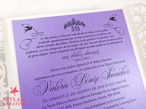 Silver Glitter Crown Princess Laser Cut Sweet 16 Invitations