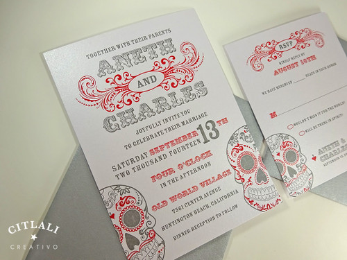 Day of the Dead / Dia de los Muertos Bold Type Wedding Invitation in red & gray
