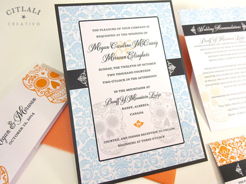 Colorful Damask Day of the Dead Skull Wedding Invitations