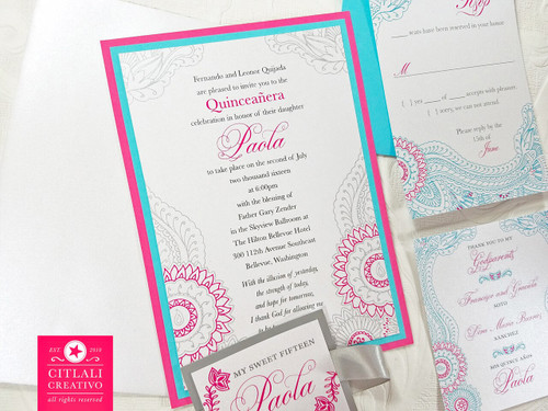 Turquoise & Pink Bollywood Paisley Quinceañera Invitations