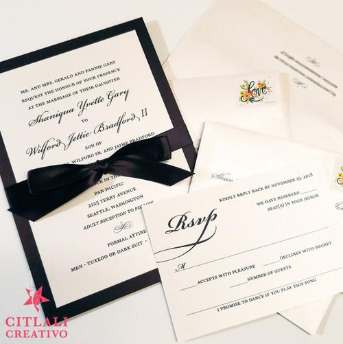 Classic & Elegant Ribbon Bow Wedding Invitations