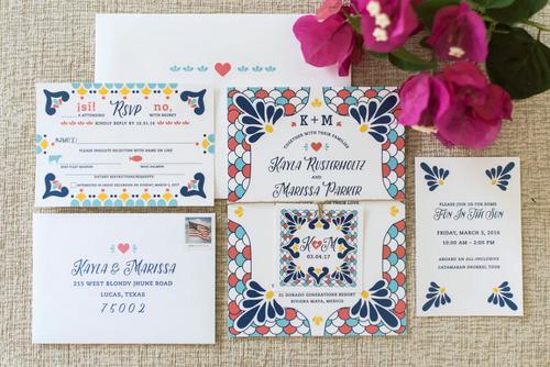 Colorful Talavera Spanish Tile Wedding Invitations