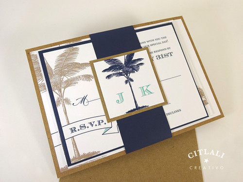 Palm & Banner Wedding Invitation in Kraft & Navy and a tiny pop of blue/aqua