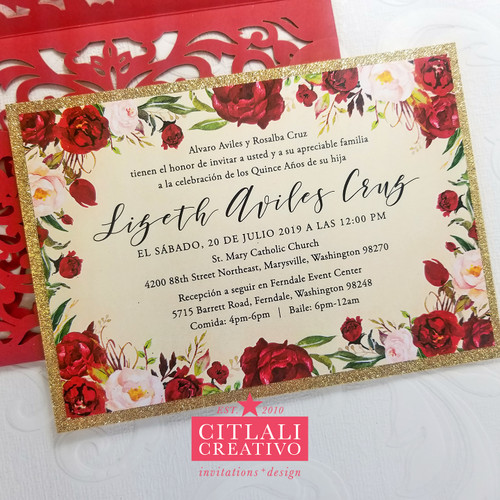 Red Roses Gold Glitter Quinceañera Laser Cut Invitations