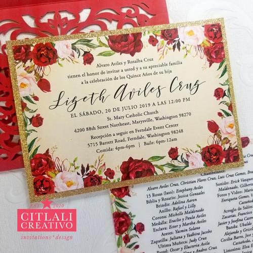 Red Roses Gold Glitter Quinceañera Laser Cut Invitations