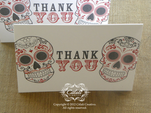 Bold Type Double Skull Thank You / Gracias Folded Card