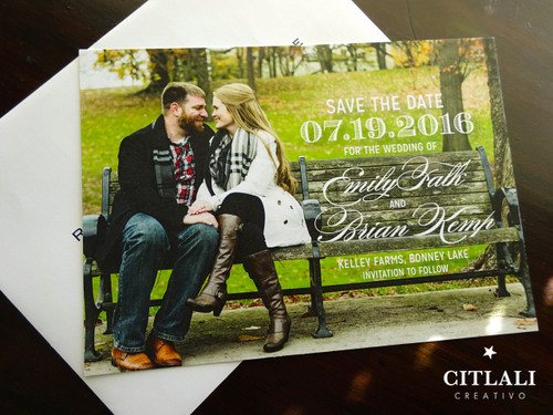 Elegant Script Photo Wedding Save the Dates