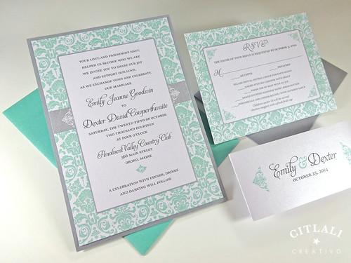 Elegant Damask Wedding Invitations
