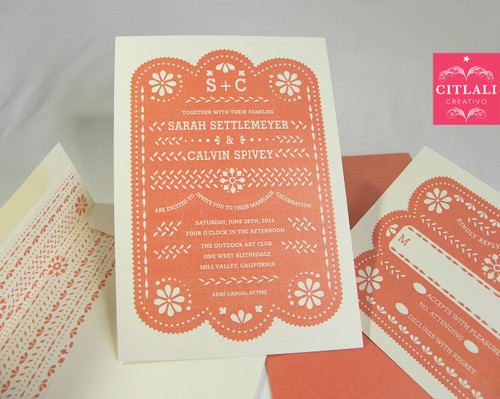 Papel Picado Wedding Invitation in coral & printed envelope liner