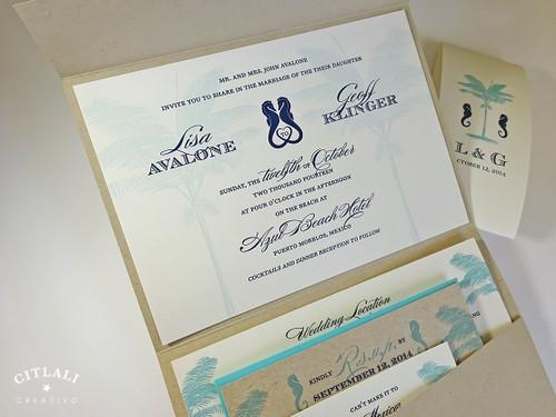 Palm Tree Aqua & Rustic Kraft Love Seahorses Beach Wedding Invitation
