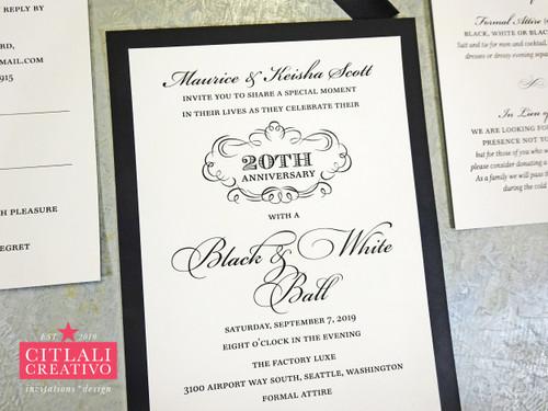 Black & White 20th Anniversary Tuxedo Wedding Celebration