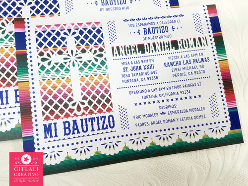Colorful Mexican Blanket PAPEL PICADO CROSS BAPTISM INVITATIONS