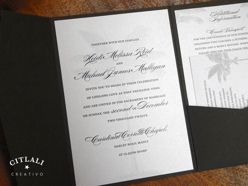 Silver & Black Palm Tree Silhouette Beach Wedding Invitation