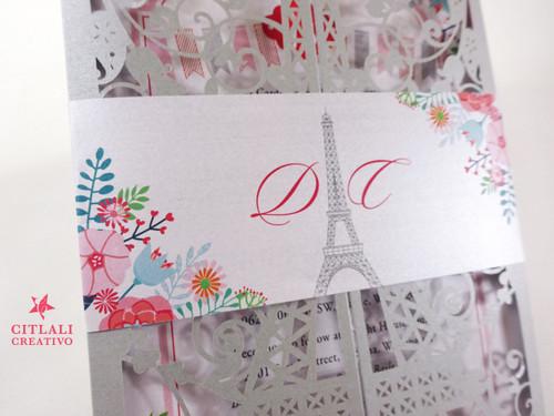 Silver Florals in Paris Eiffel Tower Laser Cut Quinceañera Invitations
