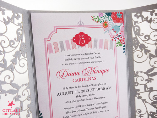 Silver Florals in Paris Eiffel Tower Laser Cut Quinceañera Invitations