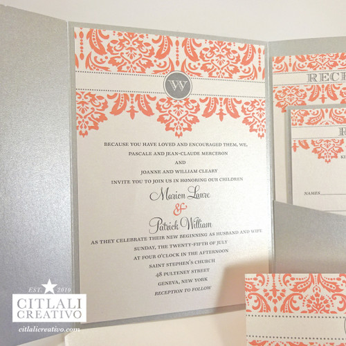 Coral & Silver Monogram Damask Pocket Folder Wedding Invitation