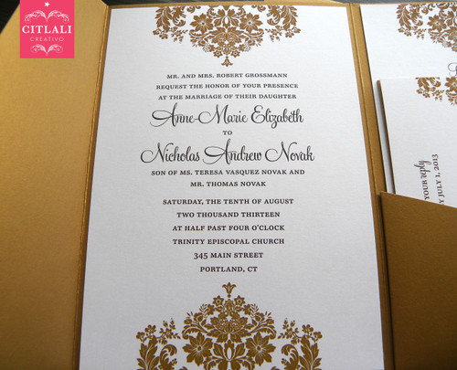 Antique Gold Elegant Floral Damask Wedding Invitation