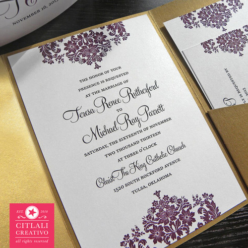 Plum Purple & Antique Gold Elegant Floral Damask Wedding Invitation