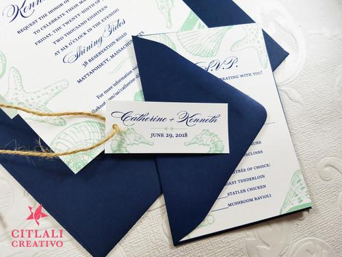 Navy & Mint Green Seashells Beach Wedding Invitations