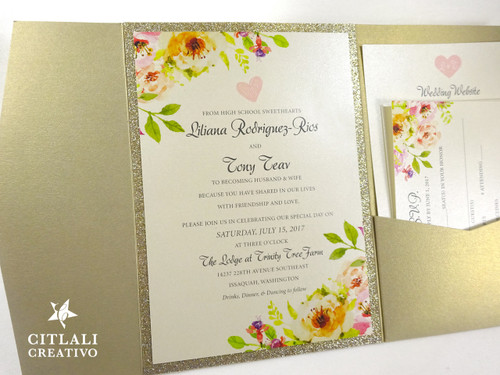 Glitter Watercolor Floral Pocket Folder Wedding Invitations
