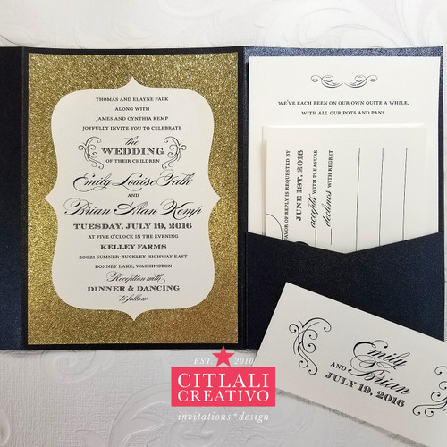Gold Glitter Shaped Pocket Folder Wedding Invitations