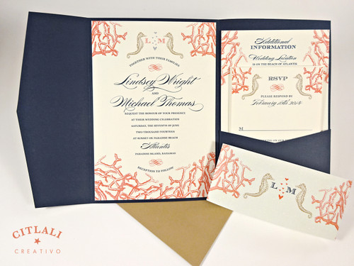 Coral Reef & Seahorses Navy & Coral Beach Wedding Invitation printed on linen stocks and housed in linen navy pocket folder with kraft envelopes