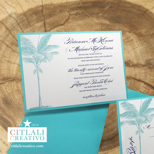 Turquoise Palm Tree Layered Wedding Invitations