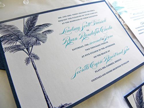 Navy Blue & Turquoise Palm Tree Beach Wedding Invitation