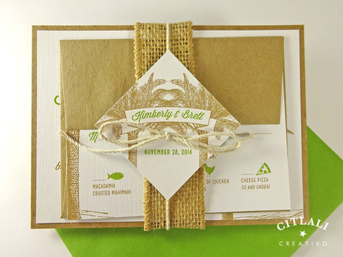 Burlap Wrapped Destination Palm Tree Wedding Invitation Set