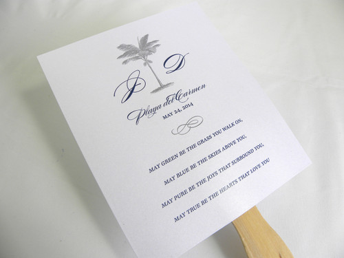 Palm Tree Wedding Fan Programs with Wooden Stick Handle